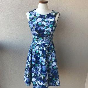 Eliza J Blue Floral Fit and Flare Dress